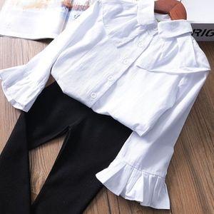 Girls Bell Sleeve Ruffle Top Button Down Blouse
